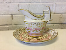 Antique Likely English Porcelain Creamer Dish & Underplate Pink Gold Decoration