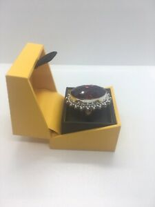 Vintage Sterling Silver Womens Large Statement Ring With Blood Red Stone