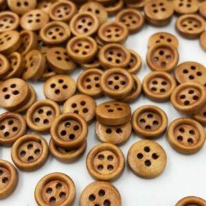 Mini Brown Wood Buttons 4 Holes Craft Clothe Sewing Decor Buttons Scrapbooks DIY