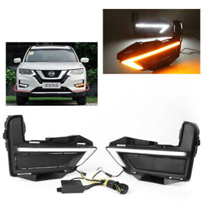 LED Daytime Running Light Turn Signals Yellow fit NISSAN ROGUE X-TRAIL 2017 2018