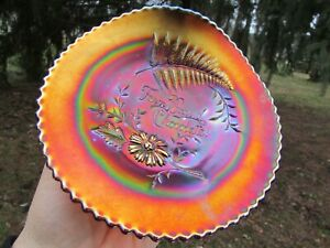 Northwood FERN BRAND CHOCOLATES ANTIQUE CARNIVAL ART GLASS ADVERTISING PLATE