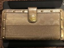 NWT Coach Wallet GOLD Lurex Studded Signature Zip Around Accordion 42014