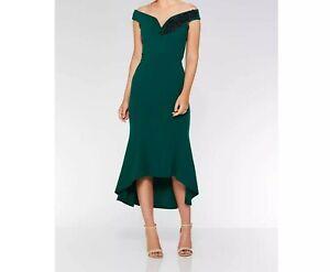 Quiz Dress, Bottle green Embroidered Bardot dip hem dress, RRP £37