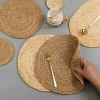 1 Pc Handmade Weave Non-slip Placemat coaster Corn hull for table dinne Round In