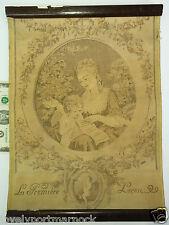 Antique Cloth European Tapestry LA PREMIERE LECON Lady with Angel cherub