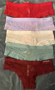 Victoria Secret PINK Cheekster Lace Panties -LOT OF 5 - Medium M - NEW - NWT!