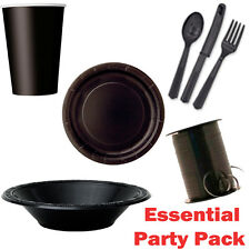 Black Essential Party Pack Plates Cups Cutlery Ribbon - FREE DELIVERY