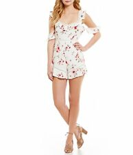 NWT Foxiedox New Ladies Small UK 8 White Ella Lace Cold Shoulder Romper Playsuit