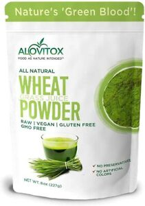 Alovitox Organic Wheat Grass Juice Powder Vegan Super Food Gluten Free 8 oz