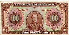 COLOMBIA NOTE $100 1951 6 DIGITS XF
