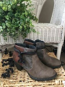 RIEKER BOOTS🤎PAIGE 9855298-65🤎Size UK 6 Brown/Combination🤎NEW with TAGS