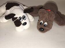 "Tonka 1985 Vintage Lot of 2 Pound Puppies 8"" Plush Stuffed Brown White Spots"