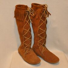 Tall Suede Moccasin Boots Fringe Brown Rust Size 11-12 Renaissance Reenactment
