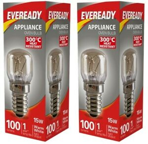 2x Eveready 300°C Cooker Oven Appliance Lamp Bulb 15W 240V SES Base (E14)