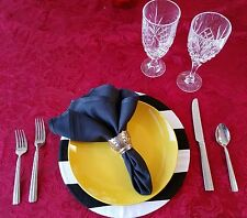 Use instead of placemats. Black and White Striped Fabric Plate Charger Cover NEW