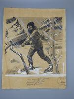 Nathaniel P. Steinberg Original Book Illustration Drawing Winter Traveler Art