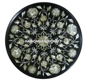 """15"""" Marble Coffee Side Table Top Pauashell Floral Inlay Hallway Decors H1859A"""