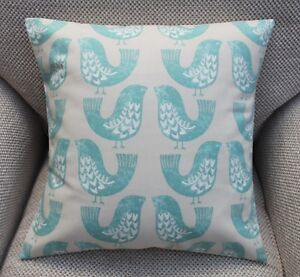 "SCANDI BIRDS AQUA CUSHION COVER 16 X 16"" HANDMADE"