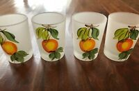 Vintage Hand Painted Frosted Orange Juice Glasses Set of 4 Beautiful! Gifts
