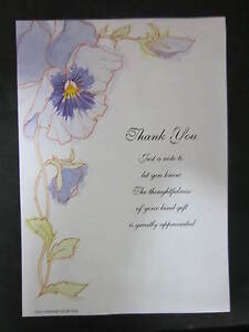 PACK OF 20 BLUE FLOWER THANK YOU NOTES WITH MATCHING ENVELOPES - 225mm x 155mm