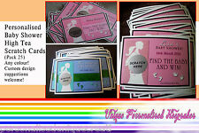 Baby Shower Game - Personalised Scratch Cards. (Pack 25) Any colour/theme.