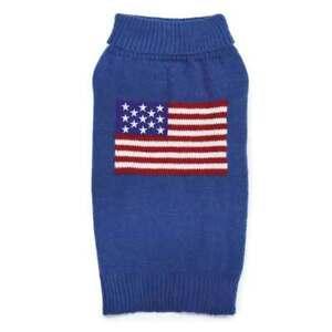ZACK & ZOEY ELEMENTS AMERICAN FLAG DOG PUPPY TURTLENECK SWEATER BLUE Misc Sizes