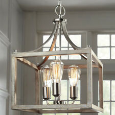 3-Light Brushed Nickel Pendant Boswell Quarter Collection Open Cage Design Home