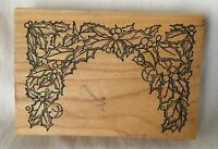 The Stamp Pad Co. Christmas Holly Wood Mounted Rubber Stamp
