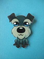 Cute Mini Schnauzer Dog Brooch Badge Puppy Acrylic Shaped Dark Grey Black Pin