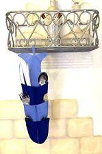 CUISINE PORTE RANGE COUVERT TISSU POISSON 12 POCHES BLEU & MARINE COTON LAVABLE