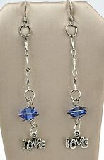 """VINTAGE .925 Sterling Silver & Wrapped Crystal, Dangling """"LOVE"""" Earrings, Wires"""