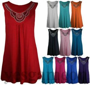 Ladies Plus Size Long Beaded Sleeveless Top Stud Summer Vest Shirt 14-28
