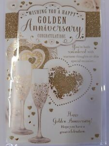 Traditional Classic Stylish Hearts & Champagne golden Anniversary Card