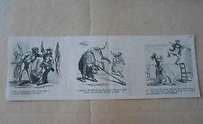 Vignette Caricature 1868 - Funambule Blondin sur la Corde ave cle taureau