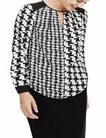 New Ex M&S Black & White Chiffon Long Sleeve Casual Blouse Top Size 24