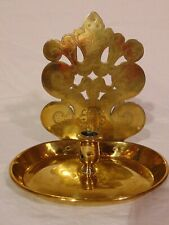 Antique 19th C Brass Candleholder Taper Stand Engraved Reflector Signed