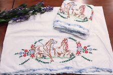 Vintage Embroidered Pillowcases Horses Flowers Blue White Crochet Trim