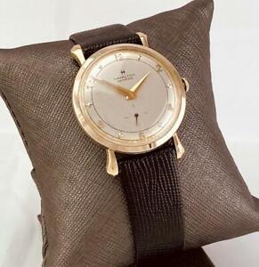 1950s 10K SOLID GOLD HAMILTON 22J Gr 770 Mechanical Men's Wrist Watch U.S.A RUNS