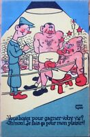 Boxing/Boxers in Ring 1940s French Artist-Signed Postcard