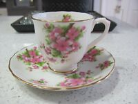"""Chelsea Tea Cup and Saucer, """"Peach Blossom"""", Vintage Bone China"""