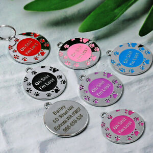 Personalised ENGRAVING Dog / Cat ID Name Bling Tag Puppy Pet ID Tags 11 COLORS