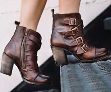 Freebird By Steven Banjo Buckle Ankle Boots  Cognac Leather 8 MSRP $309