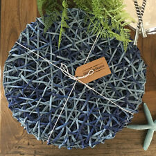 Set of 4 Round Blue Placemats/Natural Handmade Handwoven/Tableware Coastal Style