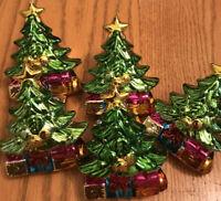 """Christmas Tree Holiday Napkin Rings-Set/5-Heavy Shiny Painted Ceramic-3 1/2"""""""
