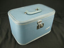 Vintage Carilite Light Blue Cosmetic Vanity Carry-On Train Case