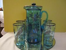 Vintage Blue Glass Pitcher And 6 Glasses With Etched PEACOCKS (STERLING)