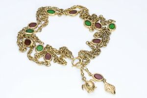 CHANEL 1970's Gold Plated Gripoix Green Red Glass Turtle Charm Chain Necklace