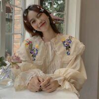 Women Blouse Shirt Tops Chiffon Ruffle Lace Floral Embroidery Puff Sleeve Retro