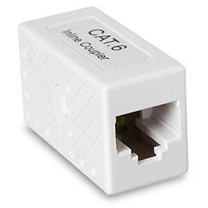 CAT6 RJ45 Inline Coupler Gigabit Joiner Socket White Adapter