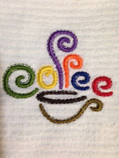 "Kitchen Towel -  Coffee Cup Design- Set of 2 -16""Wx19""L - Bar Mop Towels"
